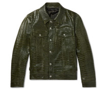 Slim-fit Croc-effect Leather Trucker Jacket - Green