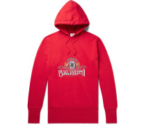 Oversized Embroidered Fleece-back Cotton-jersey Hoodie - Red