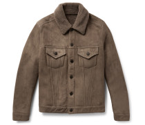 Slim-fit Shearling Trucker Jacket - Brown