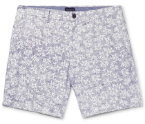 Baxter Slim-fit Printed Linen And Cotton-blend Twill Shorts