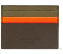 Colour-block Full-grain Leather Cardholder - Army green