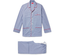 Piped Gingham Cotton-poplin Pyjama Set