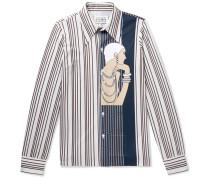 Slim-fit Printed Striped Piqué Shirt - Beige