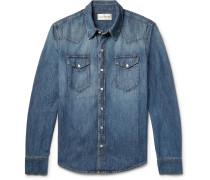 Rohe Slim-fit Washed-denim Western Shirt - Mid denim