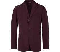 Burgundy Slim-fit Unstructured Shell Blazer - Burgundy