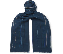 Fringed Embroidered Wool-Twill Scarf