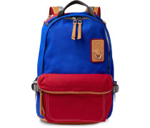 Leather-trimmed Canvas Backpack - Blue