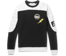 Appliquéd Quilted Cotton-jersey Sweatshirt - Black