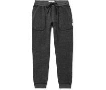 Slim-fit Tapered Fleece-back Mélange Cotton-blend Jersey Sweatpants - Dark gray