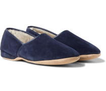 Crawford Shearling-Lined Suede Slippers
