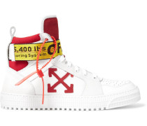 Industrial Full-grain Leather, Suede And Ripstop High-top Sneakers - White