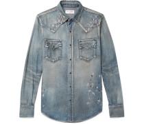 Slim-fit Distressed Denim Western Shirt - Mid denim