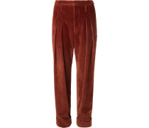 Tapered Pleated Cotton-corduroy Trousers - Brown