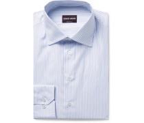 Slim-fit Blue Pinstriped Cotton-poplin Shirt - Blue