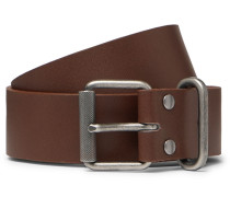 3.5cm Brown Leather Belt - Brown