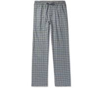 Checked Cotton And Wool-blend Flannel Pyjama Trousers - Navy