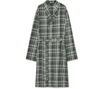 Loran Checked Cotton Robe - Green
