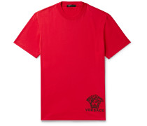 Logo-embroidered Cotton-jersey T-shirt - Red
