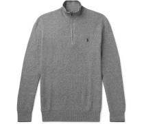 Waffle-knit Pima Cotton Half-zip Sweater - Gray