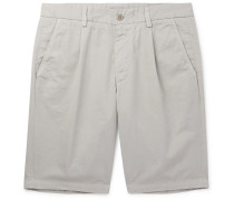 Slim-fit Pleated Cotton-twill Shorts - Gray