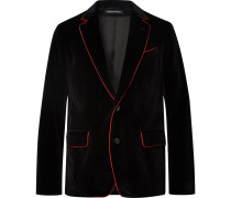 Black Slim-fit Contrast-tipped Cotton-velvet Blazer