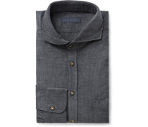 Anthracite Slim-fit Cutaway-collar Cotton-corduroy Shirt