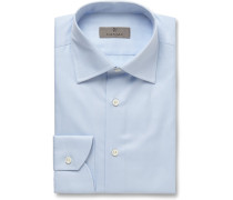 Blue Slim-fit Cotton-twill Shirt - Blue