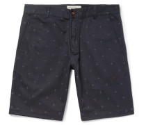 Embroidered Cotton-twill Shorts