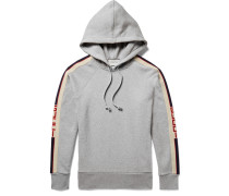 Oversized Webbing-trimmed Loopback Cotton-jersey Hoodie