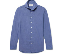 Blue Evron Slim-fit Cutaway-collar Cotton-poplin Shirt - Blue