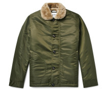 Shearling-lined Nylon Jacket - Green