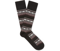 Fair Isle Stretch Cotton-blend Jacquard Socks