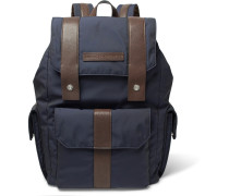 Leather-trimmed Canvas Backpack