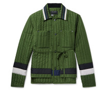 Striped Quilted Shell Jacket - Green