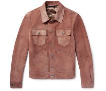 Slim-fit Suede Jacket - Pink