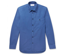 Slim-fit Garment-dyed Cotton-poplin Shirt
