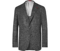 Grey Slim-fit Donegal Silk, Wool And Cashmere-blend Blazer