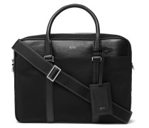 Meridian Cross-grain Leather Trimmed Canvas Briefcase - Black