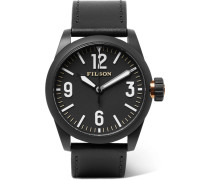 Field Stainless Steel And Leather Watch - Black