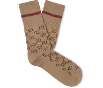 Logo-Jacquard Cotton-Blend Socks
