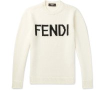 Logo-intarsia Wool Sweater - White