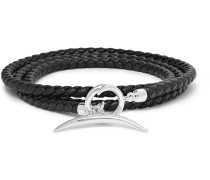 Quill Woven Leather And Silver Wrap Bracelet - Black