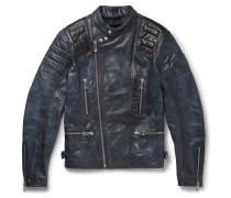 Burnished-leather Biker Jacket - Midnight blue