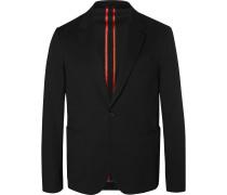 Black Slim-fit Unstructured Stretch-cotton Blazer - Black