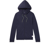 Slim-fit Cotton-jersey Zip-up Hoodie - Storm blue