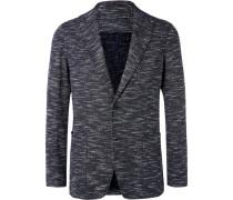 Navy Slim-fit Unstructured Slub Cotton-blend Blazer