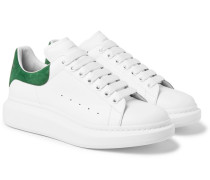 Exaggerated-sole Leather Sneakers