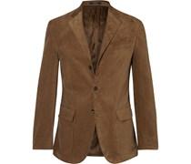 Tan Harvard Slim-Fit Suede-Panelled Corduroy Blazer