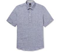 Mélange Linen Half-Placket Shirt