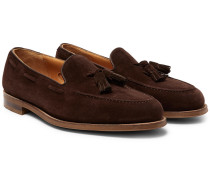 Hampstead Leather-trimmed Suede Tasselled Loafers - Dark brown